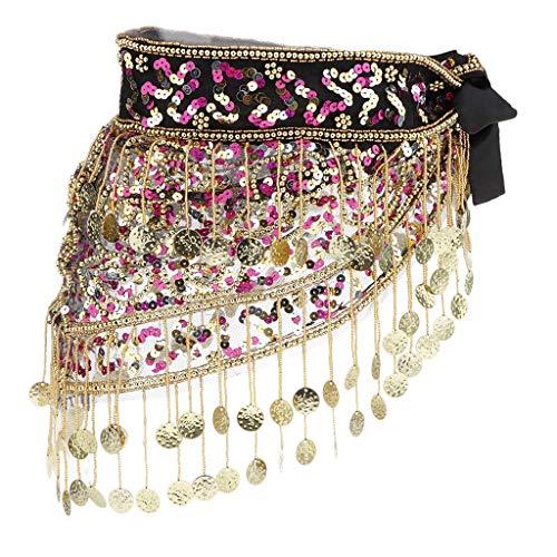 Tubayia Disfraz de danza del vientre para mujer, cinturn, cinturn, lentejuelas, borla, pauelo de danza (negro y rosa)