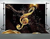 HDゴールド音楽シンボル綿の背景ダークブラック古典的な写真の背景音楽イベントバナー背景しわ抵抗7x5ftLHFS116
