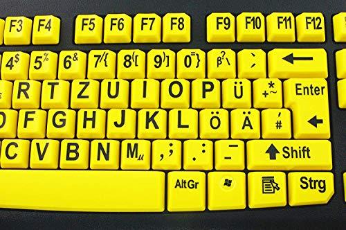 Tastatur mit großen Tasten und extra großer Schrift (Schwarz auf Gelb) mit Windows XP, Vista, 7, 8, 10 kompatibel - plug&play (deutsche Version) - Geemarc KBSV3_YEL_GE