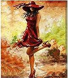 Peinture par numéros Kits pour adultes et enfants débutant toile peinture à l'huile comprend des peintures / pinceau Art décoration de la maison -16X20 pouces (sans cadre) femme rouge talons hauts