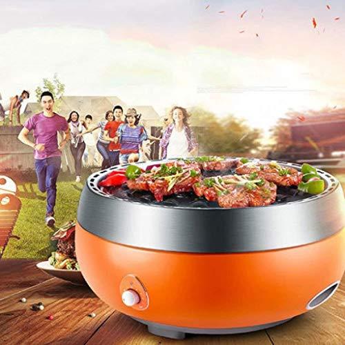 Hyzb Elektrische Non-Stick Teppanyaki Table Top Grill-Kochplatte mit integriertem Heizelement, regelbarem Thermostat, Fettauffangschale und Cool-Touch-Griffe - 35 * 35cm
