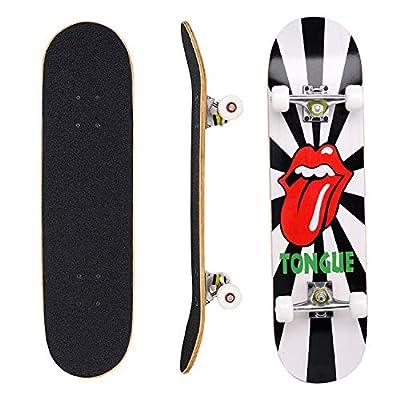 """Eseewin Skateboard 7 Ebenen Decks 31""""x 8"""" Pro Komplettes Skateboard Ahornholz Longboards für Jugendliche Erwachsene Anfänger Mädchen Jungen Kinder"""