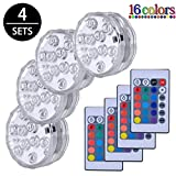 Luces Sumergibles,4PCS Piscina Luz LED Impermeable,Control Remoto Bajo...