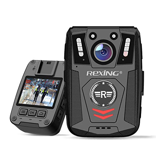 "Rexing P1 Body Worn Camera, 2"" Display 1080p Full HD, 64G Memory,Record Video, Audio & Pictures,Infrared Night Vision,Police Panic Mode, 3000 mAh Battery,10HR Battery Life,Waterproof,Shockproof"