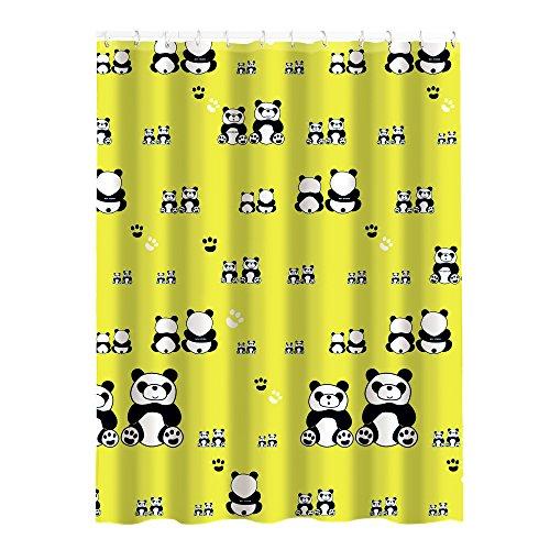 "MSV 141391 Anti-Schimmel Duschvorhang - Anti-Bakteriell, waschbar, wasserdicht, mit 12 Duschvorhangringen - Polyester, ""Panda"" 180x200cm"