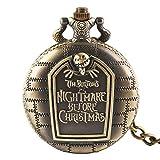 The Burton 's Nightmare Before Christmas - Reloj de Bolsillo para Hombre y Mujer, diseño de la Pesadilla Antes de la Navidad