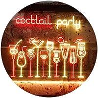 Cocktail Party Home Bar Club Pub Dual Color LED看板 ネオンプレート サイン 標識 赤色 + 黄色 400 x 300mm st6s43-i3175-ry
