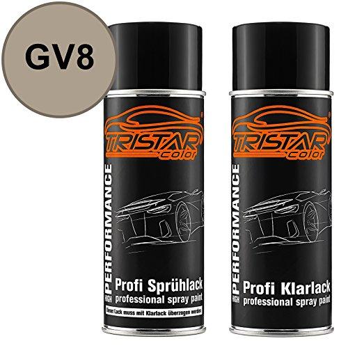 TRISTARcolor Autolack Spraydosen Set für Bedford/Vauxhall GV8 Creamy Beige Perl Metallic Basislack Klarlack Sprühdose 400ml