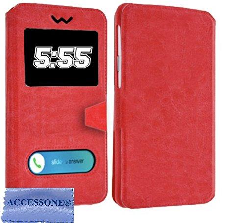 """Housse Pochette Etui Folio Universelle avec Coque incassable Compatible pour KLIPAD V356 4G LTE (5"""" Pouces ecran18:9) (Etui Rouge)"""
