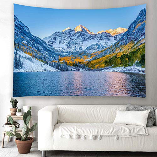 YISURE雪山風景壁タペストリー 風景画 森雪山湖の風景インテリア壁掛け ファブリック装飾用品 ウォールデコレーション 150x100cm