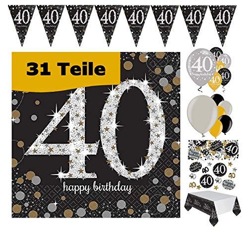Feestelijke feesten verjaardagsdecoratie 40e verjaardag 31 delen deco-set luchtballon wimpel slinger confetti servet tafelkleed goud zwart zilver metallic party-set