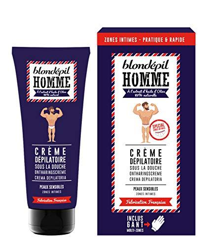 Blondépil Homme Crème Dépilatoire/Gant Gommant Zones Intimes 100 ml - Lot de 2