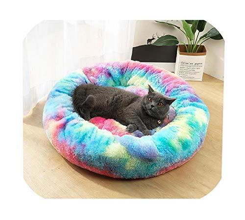 FairyLi Huisdier Hond Bed Comfortabele Donut Knuffel Ronde Hond Bed Ultra Zachte Wasbare Hond en Kat Kussen Bed, 60cm 12kg sleep, C1
