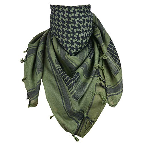 ExTWISTim Shemagh Schal Keffiyeh Arab Wrap Army Military Tactical Wüstenhals 100% Baumwolle Herrenschleier Kopf Kariertes Unisex-Kopftuch (Od Green/Black)