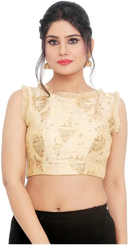 Designer Indian Traditional gold Brocade Padded Sleeveless Saree Blouse Choli (X800.Ns)