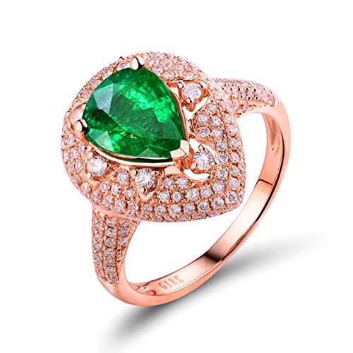 AnazoZ Anillo Mujer Esmeralda,Anillo de Oro Rosa 18K Oro Rosa Verde Gota de Agua Esmeralda Verde 1.67ct Diamante 0.77ct Talla 23,5
