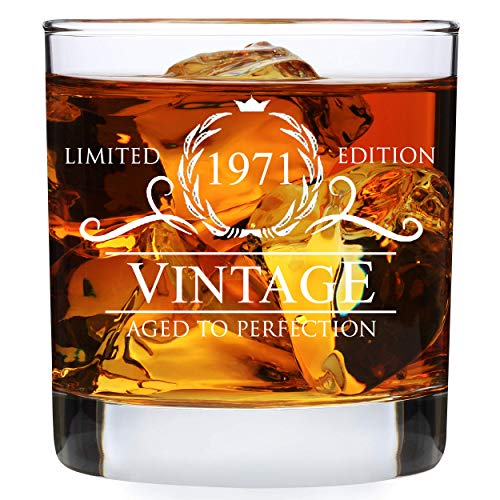 50th Birthday Gifts for Men - 1971 Vintage 11 oz Whiskey Rocks Glass - 50th Birthday Decorations for Men - 50th Birthday Presents for Dad Husband Him - 50th Anniversary Presents for Parents Dad Mom