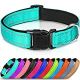 Joytale Reflective Dog Collar,Soft Neoprene Padded Breathable Nylon Pet Collar Adjustable for Large Dogs,Teal,L