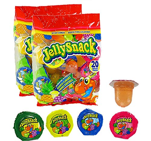 Jelly Snack Fruit Jelly Candy - Pack of 2 Bags (20 Cups Each) - Assorted Flavors
