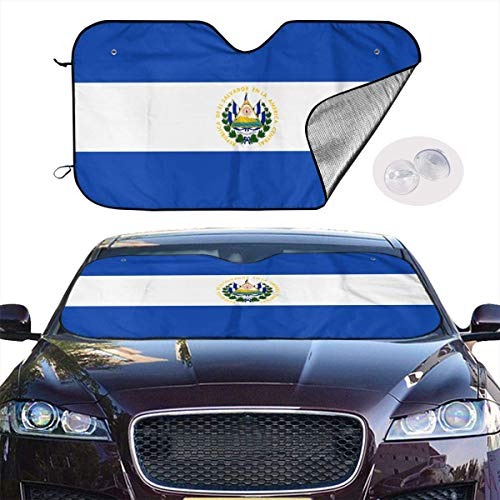 VTIUA Parasol para Parabrisa,parasoles de Coche Auto El Salvador Flag Portable Universal Sunshade Keeps Vehicle Cooler for Car,SUV,Trucks,Minivan Automotive and Most Vehicle Sunshade (51 X 27 in)
