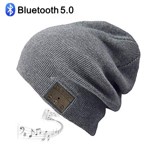 blueear Bluetooth Beanie Hat Bluetooh 5.0 Headphone Wireless Winter Knit Hats with Stereo Speaker and MIC 8 Hours Working Time for Outdoor Sports