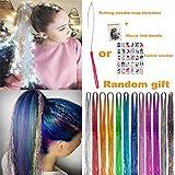 UPTO - Kit de brochas para el pelo con purpurina, 12 colores, 2000 hebras, de seda, 12 colores, 46 inch