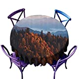 Wendell Joshua National Parks Home Decor Gingham Round Tablecloth,Sunrise at Mountains Pine Trees Covered on Hill Mist South Carolina Multi,Great for Coffee & More D48 inch