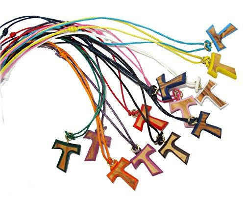 Ferrari & Arrighetti Tau in Legno di ulivo con Bordo colorato, Croce di San Francesco d'Assisi - Altezza 1,9 cm (Confezione da 50 Pezzi)