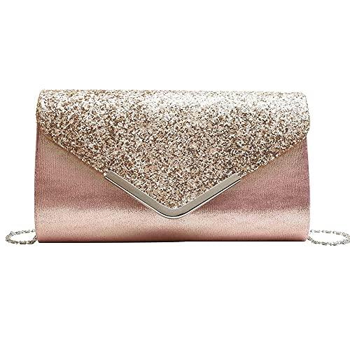 ZXM Bolso de Noche con Lentejuelas Bolso cosmético Ladies Mini Embrague Etiqueta Elegante Purse Messenger Bag Bolsa de Hombro Caja de Teclas (Color : Rosado, Size : 5.5 * 9.4 * 2in)
