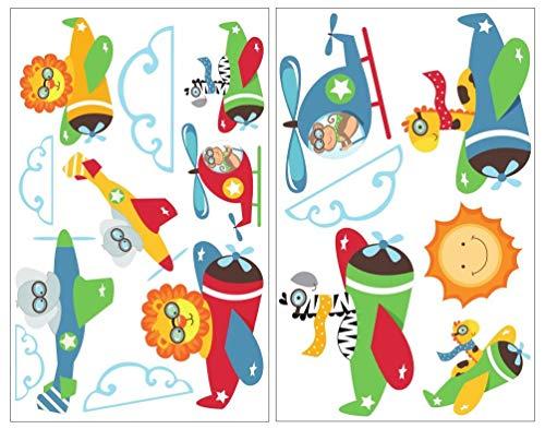 Samunshi® Animaux de 16 pièces dans l'avion Sticker mural pour chambre d'enfant Motif safari Lion Singe Girafe, multicolore, 2x 21x34cm
