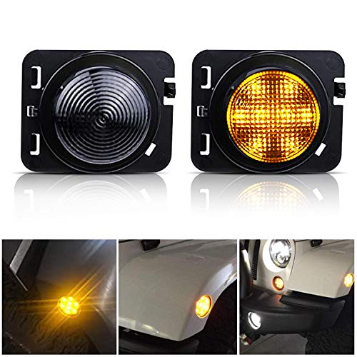 TURBO SII 2Pcs LED Amber Yellow Front Fender Flares Side Marker Clearance Lights Assembly with Smoke Lens for 2007-2017 Wrangler JK&JKU Unlimited Sahara Rubicon Willys Wheeler