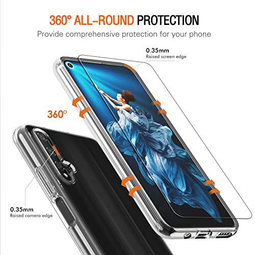 ivoler Hülle für Huawei Nova 5T / Honor 20 + 3 Stück Panzerglas, Durchsichtig Handyhülle Transparent Silikon TPU Schutzhülle Case mit Hartglas Schutzfolie Glas für Huawei Nova 5T / Honor 20 - 4