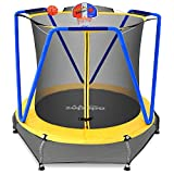 Zupapa 54 inch 66inch Small Trampoline with bascketball for Kids Children Mini Toddler Baby Trampolines with Enclosure Net Ultra Quiet (Blue-Yellow, 66inch)