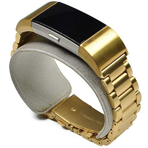 YWZQ Sport-Armband, kompatibel mit Fitbit Charge 2, Edelstahl-Ersatzbänder mit Schmetterlingsverschluss für Fitbit Charge 2, goldfarben