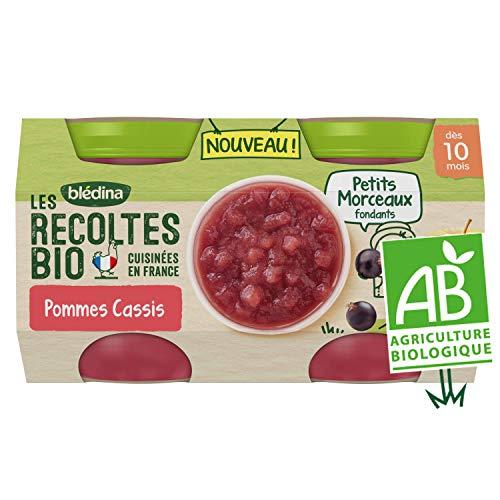 Blédina Les Récoltes Bio, Petits pots bébé Bio dès 10 Mois, Pommes Cassis Petits Morceaux, 2x130g