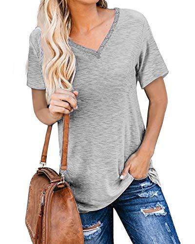 Cindeyar Damen T-Shirt Sommer Kurzarm Oberteile V Ausschnitt Basic Casual Oberteile Tops (324Grau Kurzarm,XL)