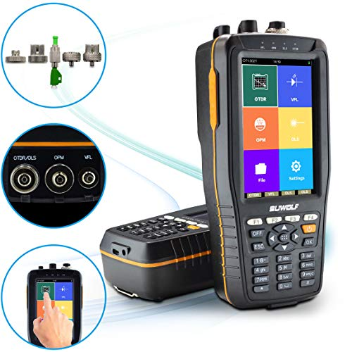 """SUWOLF 1310/1550nm 22/20dB Tragbares 4in1 OTDR +VFL+OPM+OLS 4"""" Touchscreen 60Km OTDR LWL Tester/Optische Zeitbereichs-Reflektometer mit SC(APC)+FC(APC)+FC zu LC(APC) Adapter"""