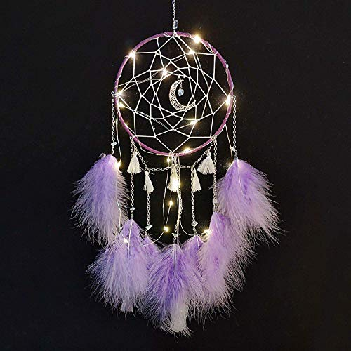 Nice Dream LED Dream Catcher, Handmade Dream Catchers for Bedroom Wall Hanging Home Decor Ornaments Craft (Purple)