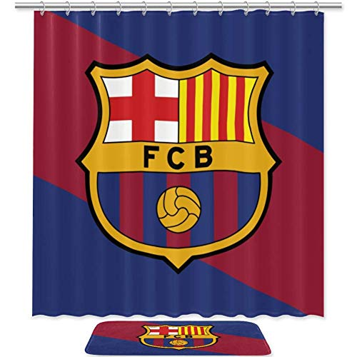 Bennigiry - Juego de cortinas de ducha con emblema de bandera de color Fo Barcelona, accesorios de baño, 183 x 183 cm, cortinas de ducha de poliéster y alfombrilla de baño con 12 ganchos