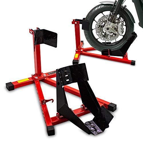 BITUXX® Motorrad Montageständer Motorradwippe vorn Motorradständer Wippe Transportständer Vorderrad Rot/Schwarz