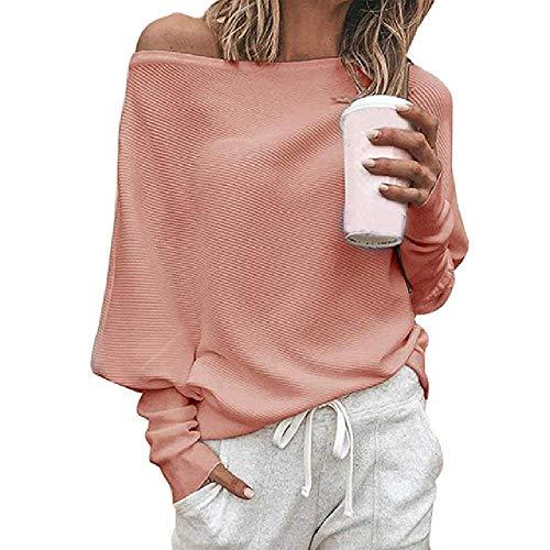 Damen Sexy Schulterfrei T-Shirt Casual Langarm Pullover Lose Fledermausärmel Tee Top...