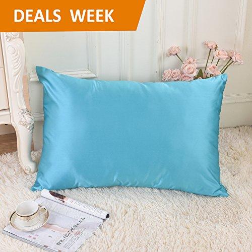 HOME BRILLIANT Ultra Soft Satin Kissenbezüge für Haar, Fleck/Falten/farbbeständig, Satin, blaugrün, Queen/Standard