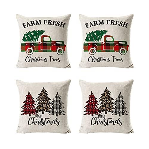 BDSJBJ Fundas de almohada navideñas, 18 x 18 pulgadas en la serie de Navidad, funda de almohada cuadrada con cremallera personalizada para sofá, cama, sofá, coche