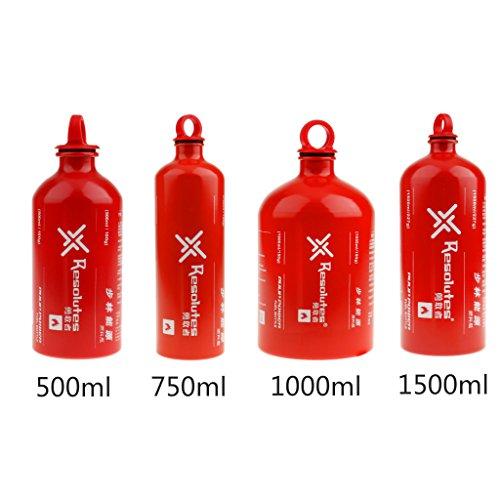 perfeclan Tanque Plano De Estufa De Aceite De Botella De Combustible De Aluminio De 500-1500 Ml para Acampar Al Aire Libre De Supervivencia - Rojo, 750ml