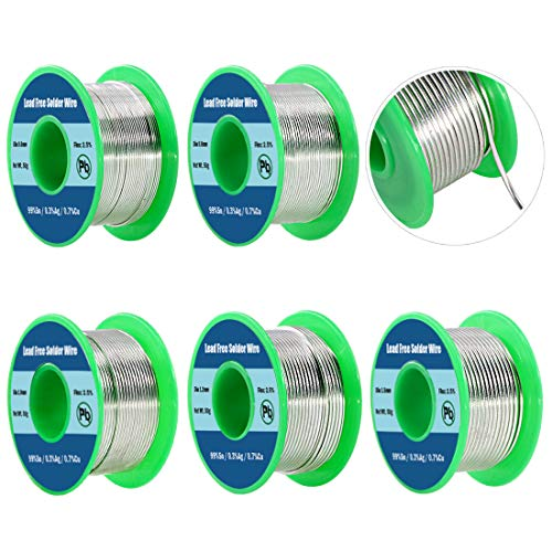 Keadic 5Pcs Lead Free Solder Wire with Rosin Core Set 0.6mm 0.8mm 1.0mm 1.2mm 1.5mm for Most Electrical Soldering, Sn 99% Ag 0.3% Cu 0.7%