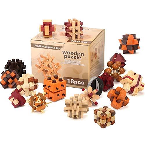18 Piezas Juguetes Rompecabezas de Madera Caja Set   IQ Juguete Educativo   3D Brain Teaser Puzzle de Madera   Juego Niños y Adolescentes