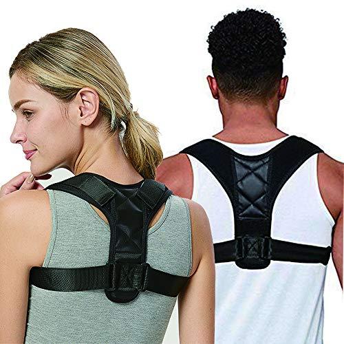 Hidewalker osynlig hållningskorrigerare för kvinnor män övre ryggstöd för nyckelbenet stöd justerbar ryggrätare hjälper till att förbättra hållningen nacke rygg axlar och nyckelbensområde smärtlindring Svart