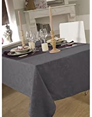 Tafelkleed van stof, 150 x 300 cm, ommbra damast, donkergrijs