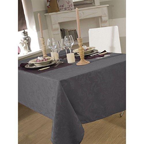 CALITEX Tischdecke aus Stoff 150x 300cm Ombra Damast Dunkelgrau