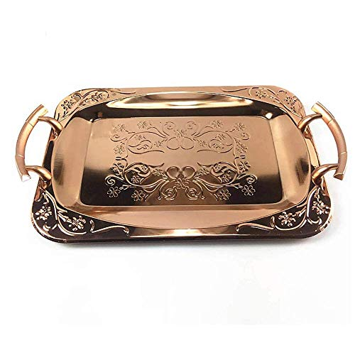 Nuokix Rose Gold Rectangular Tray with Handles, Stainless Steel Fruit Plate, Tea Tray, Pastry Tray, Jewelry Storage Tray, Coffee Tables, bedrooms or bathrooms Fruit Display